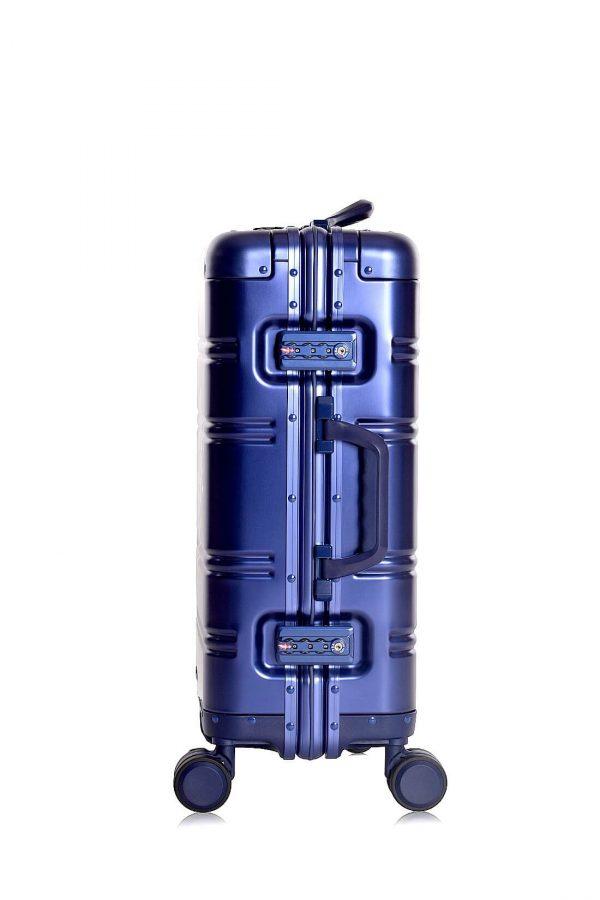 Maleta de Cabina en Aluminio Logo Azul metalizado TSA Lock