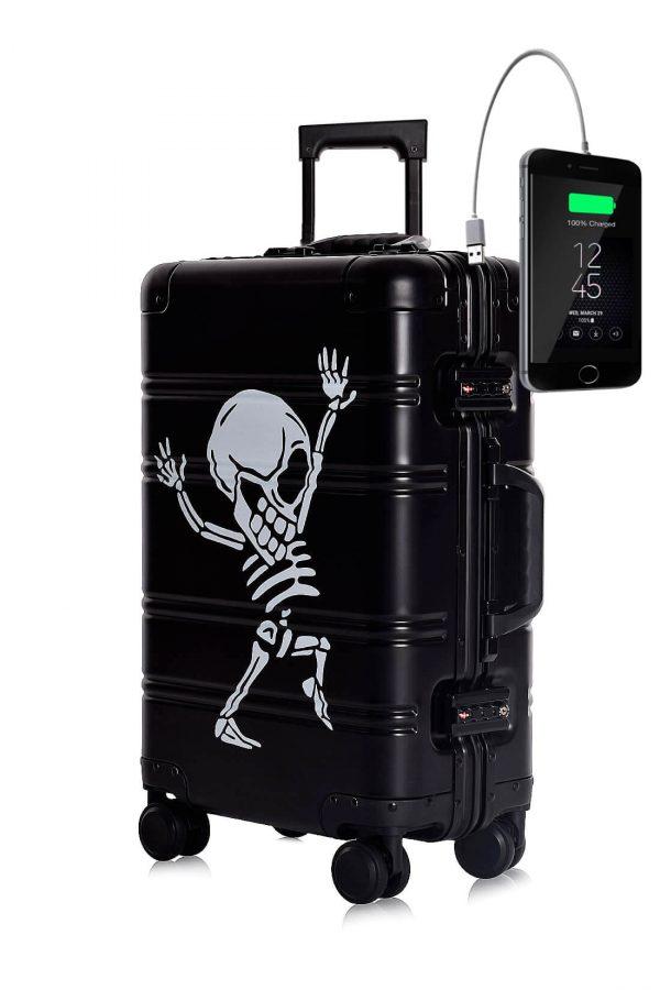 Maleta de Cabina Metalica Aluminio 4 ruedas Rigida Calavera Tokyoto Luggage Black Skull