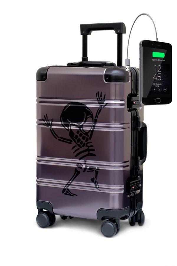 Maleta de Cabina Metalica Aluminio 4 ruedas Rigida Calavera Tokyoto Luggage Money Heis 2