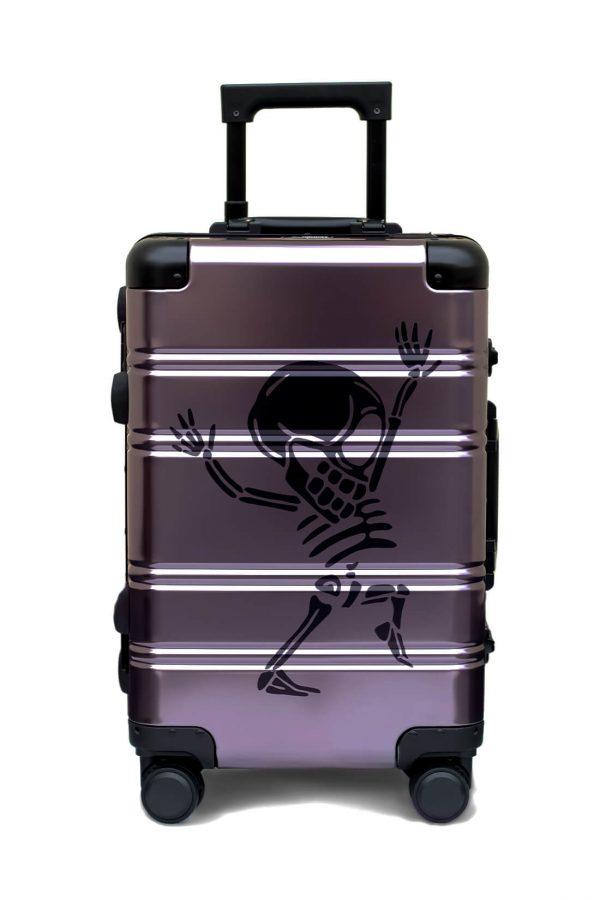 Maleta de Cabina Metalica Aluminio 4 ruedas Rigida Calavera Tokyoto Luggage Money Heist
