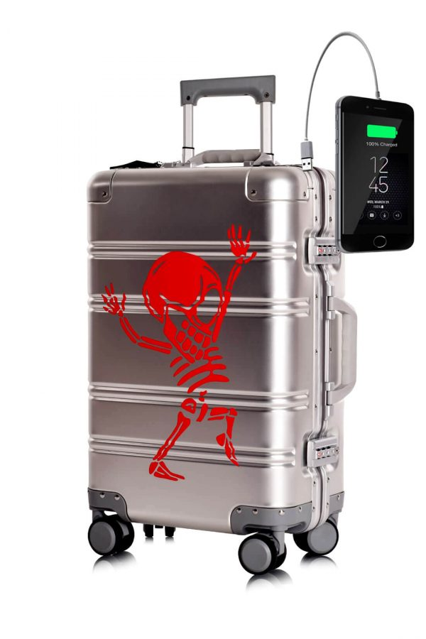 Maleta de Cabina Metalica Aluminio 4 ruedas Rigida Calavera Tokyoto Luggage Silver Skull