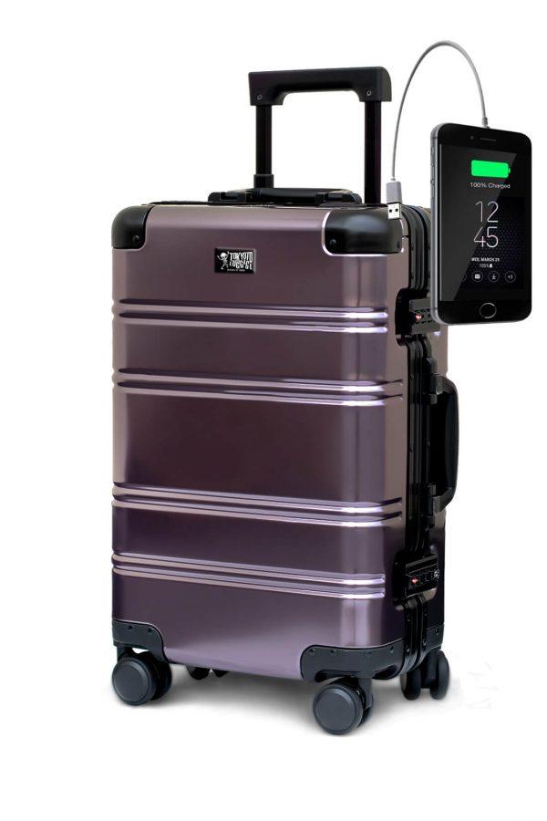 Maleta de Cabina Metalica Aluminio 4 ruedas Rigida Calavera Tokyoto Luggage Suburra