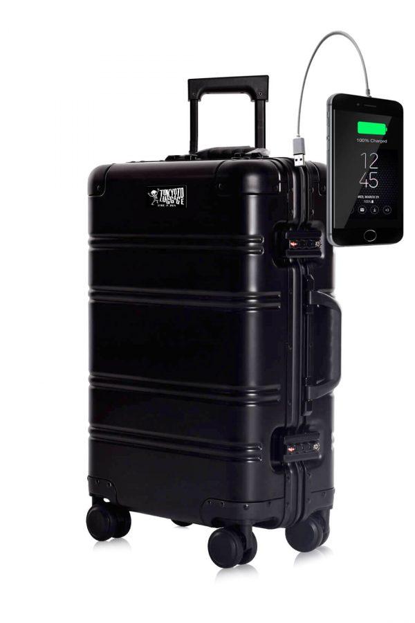 Maleta de Cabina de aluminio con Cargador para Movil Black Logo Tokyoto Luggage 2