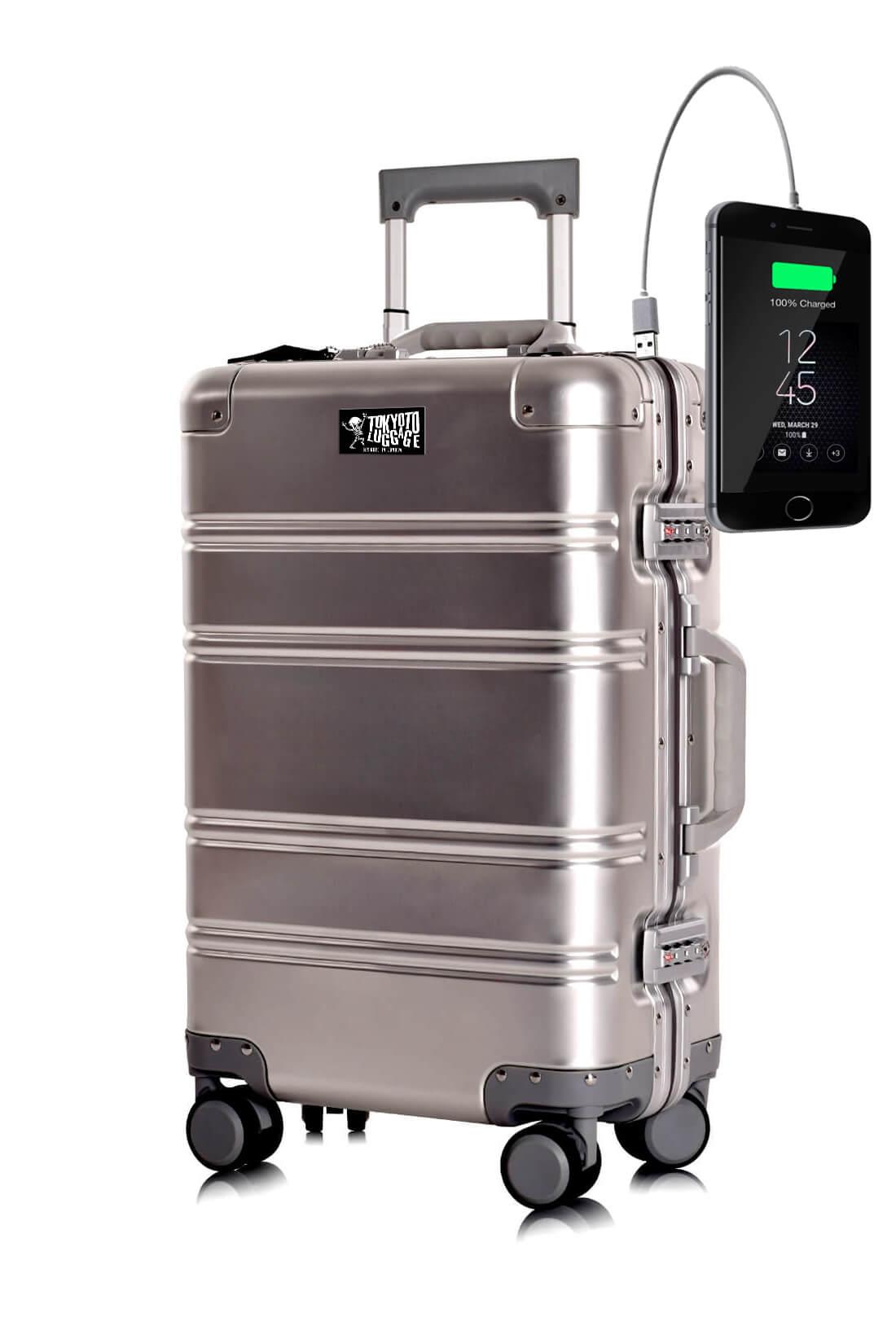 Maleta de Cabina de aluminio con Cargador para Movil Silver Logo Tokyoto Luggage 1