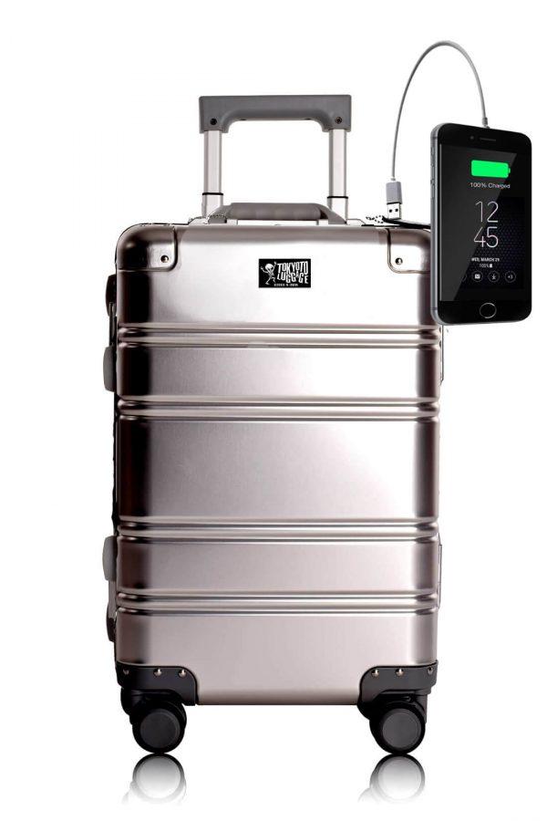 Maleta de Cabina de aluminio con Cargador para Movil Silver Logo Tokyoto Luggage 11