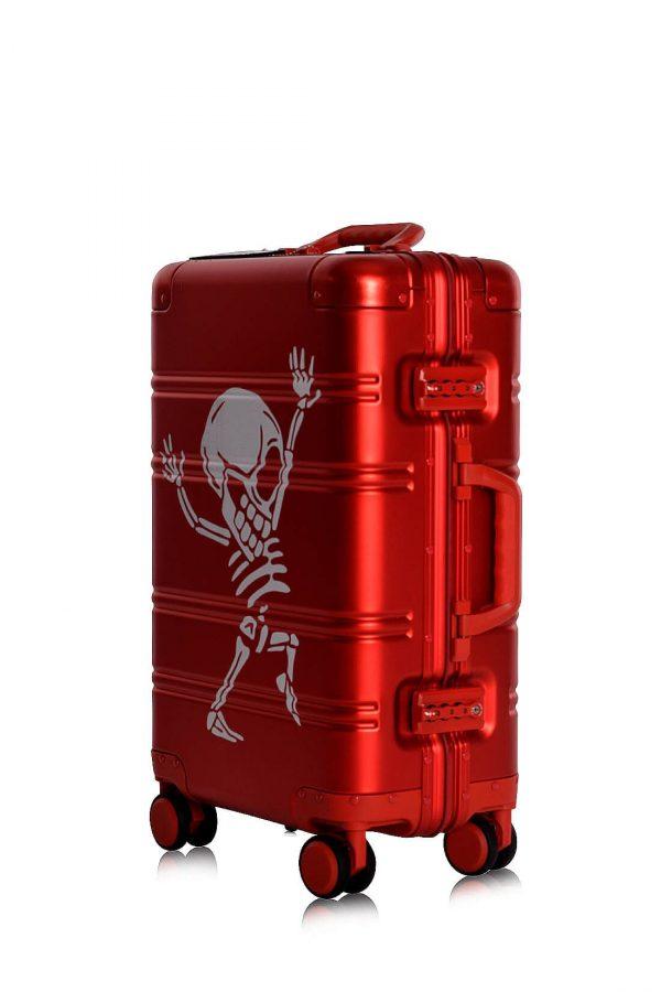 Maleta de Cabina Equipaje de Mano de Aluminio Aceptado en Cabina Modelo RED SKULL