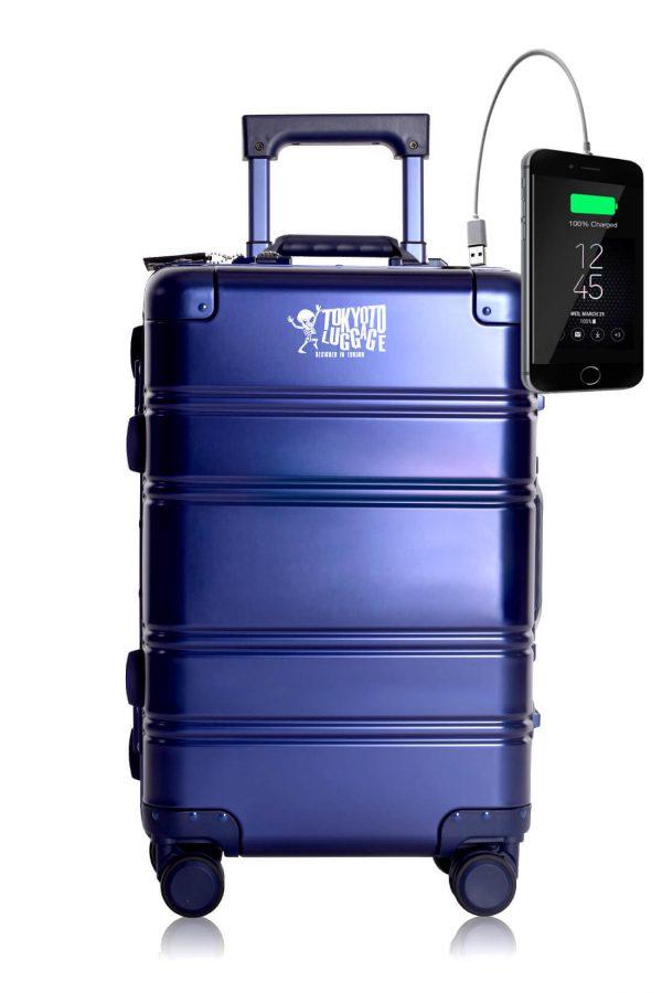 Web BLUE SMALL LOGO Maleta de Cabina de Cabina con Cargador para Movil